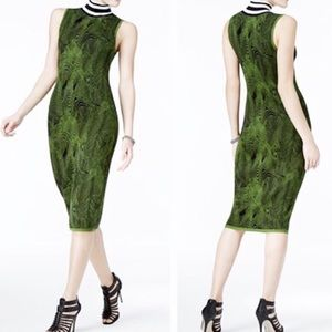 GUESS Iris Jacquard Green & Black Sweater Dress